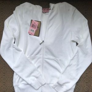 Brand New Juicy Couture White Terry Hoodie L